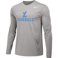Lakeridge Baseball 13: Adult Size - Nike Team Legend Long-Sleeve Crew T-Shirt - Gray