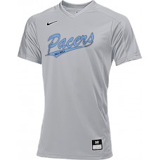 Lakeridge Fall Baseball 20: Backup Jersey - Nike Vapor Dri-Fit Stock Men's Short-Sleeve V-Neck Baseball Game Top - Gray with Graphics on Front and Back
